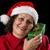 senior · dame · kerstman · hoed · geschenk · glimlachend - stockfoto © leowolfert