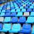 blue plastic old stadium seats on concrete steps stock photo © leungchopan