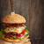 rundvlees · hamburger · rustiek · stijl · chili · paprika - stockfoto © lidante