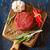 nyers · vesepecsenye · steak · rozmaring · fűszer · vágódeszka - stock fotó © lidante