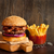 frito · patatas · azul · placa · rojo · blanco - foto stock © lidante