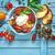 bruschetta · paradicsomok · mozzarella · bazsalikom · koktélparadicsom · fa · deszka - stock fotó © lidante