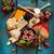 素朴な · チーズ · その他 · 青 · プレート · サラダ - ストックフォト © lidante