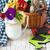colorido · flores · jardín · herramientas · mesa · de · madera · aislado - foto stock © lidante