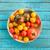koktélparadicsom · kék · tál · csoport · zuhan · barna - stock fotó © lightfieldstudios