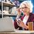 senior · mulher · tela · casa - foto stock © lightfieldstudios