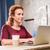 sorrindo · olhando · laptop · feliz · mulher · madura · sessão - foto stock © lightfieldstudios