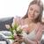 vista · sonriendo · nina · tulipanes · ramo - foto stock © lightfieldstudios