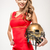cheerleader posing with helmet stock photo © lightfieldstudios