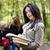 кампус · довольно · женщины · студент · ноутбука · книгах - Сток-фото © lighthunter