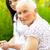 pielęgniarki · chat · starszy · kobieta · dom · starców · człowiek - zdjęcia stock © lighthunter