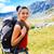 álomszerű · mosolygó · nő · természetjáró · hátizsák · nő · mosoly - stock fotó © Lighthunter