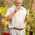 idős · érett · férfi · üveg · fehérbor · néz · bor - stock fotó © lighthunter