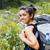 engem · hegyek · mosolygó · nő · utazás · erdő · nő - stock fotó © Lighthunter
