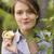 nő · kert · gyümölcsfa · kint · munka · gyönyörű - stock fotó © lighthunter
