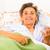 beszél · idős · nő · boldog · ágy · otthon · egészség - stock fotó © Lighthunter