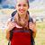 örömteli · nő · portré · nő · természetjáró · hegyek · mosoly - stock fotó © Lighthunter