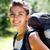 portré · nő · természetjáró · hátizsák · erdő · tájkép - stock fotó © Lighthunter