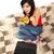 vonzó · fiatal · lány · laptop · fehér · ágy · fektet - stock fotó © lighthunter