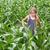 belo · jeans · menina · em · pé · verde · floral - foto stock © lightkeeper
