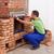 edifício · alvenaria · aquecedor · trabalhador · nova · casa · cópia · espaço - foto stock © lightkeeper