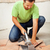 man cutting ceramic floor tiles stock photo © lightkeeper
