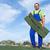 trabajador · de · la · construcción · azulejo · reparación · techo · trabajador · amarillo - foto stock © lightkeeper