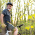 férfi · motoros · hegyi · kerékpár · erdő · vidék · fitnessz - stock fotó © lightpoet