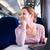 genç · kadın · dizüstü · bilgisayar · kullanıyorsanız · bilgisayar · tren · sığ - stok fotoğraf © lightpoet