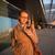 jonge · vrouwelijke · luchthaven · wachten · vlucht - stockfoto © lightpoet