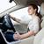nő · vezetés · autó · fiatal · nő · hivatalos · visel - stock fotó © lightpoet