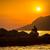 силуэта · рыбак · закат · удивительный · красочный · свет - Сток-фото © lightpoet