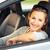 heureux · femme · souriante · séance · à · l'intérieur · nouvelle · voiture - photo stock © lightpoet