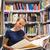 joli · jeune · femme · étudier · vieux · livre · femme · livre - photo stock © lightpoet
