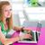 довольно · женщины · рабочих · ноутбука · портативного · компьютера - Сток-фото © lightpoet