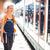 kobieta · czeka · ławce · miasta - zdjęcia stock © lightpoet