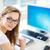 mosolyog · női · diák · üzletasszony · táblagép · asztali · számítógép - stock fotó © lightpoet