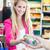 nő · fizet · élelmiszer · áruház · pénztár · étel - stock fotó © lightpoet