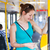 Pretty, young woman on a streetcar/tramway, during her commute t stock photo © lightpoet