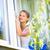 güzel · genç · kadın · ev · çalışmak · yıkama · pencereler - stok fotoğraf © lightpoet