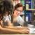 diákok · tanul · ül · fű · tanulás · együtt - stock fotó © lightpoet