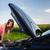 jonge · vrouwelijke · bestuurder · auto · gebroken · beneden - stockfoto © lightpoet