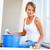 lavagem · windows · mulher · jovem · mulher · nuvens · vidro - foto stock © lightpoet