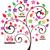 baykuşlar · ağaç · çiçek · arka · plan · komik · hayvan - stok fotoğraf © lilac