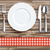 worn wood red checked cloth knife fork spoon plate stock photo © limbi007