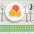 wood cloth knife fork spoon plate citrus fruits stock photo © limbi007