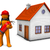 brandweerman · huis · witte · 3d · illustration · vrouw · brand - stockfoto © limbi007