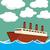 grande · Cartoon · buque · de · vapor · océano · viaje · barco - foto stock © lirch