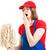 cansado · feminino · empregada · limpeza · piso - foto stock © lisafx
