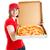 menina · adolescente · pizza · primeiro · trabalho · isolado - foto stock © lisafx